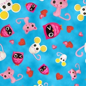 Cute As A Button Lalaloopsy Animal Toss on Blue Cotton Fabric