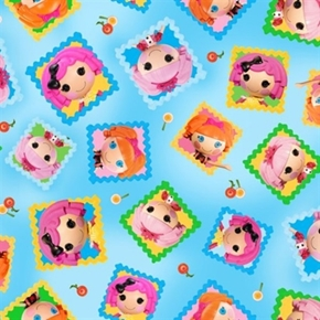 Cute As A Button Lalaloopsy Tossed Doll Blocks Blue Cotton Fabric
