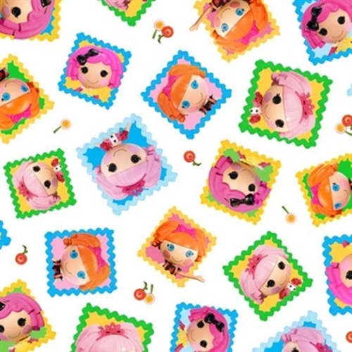 Cute As A Button Lalaloopsy Tossed Doll Blocks White Cotton Fabric