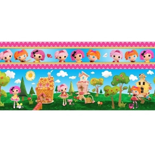 Cute As A Button Lalaloopsy Girl House Scene in Stripes Cotton Fabric