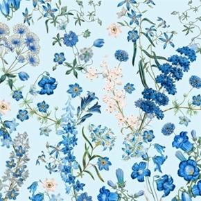 Harper New York Botanical Gardens Wild Flowers Blue Cotton Fabric