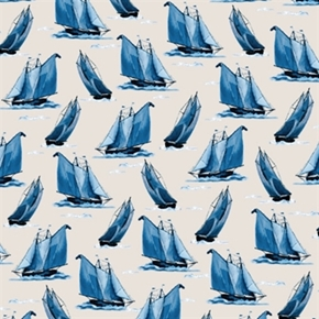 Sail Away Blue Sailboats Sailing On White Cotton Fabric