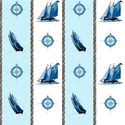Sail Away Sailboats And Compass In Stripes Cotton Fabric