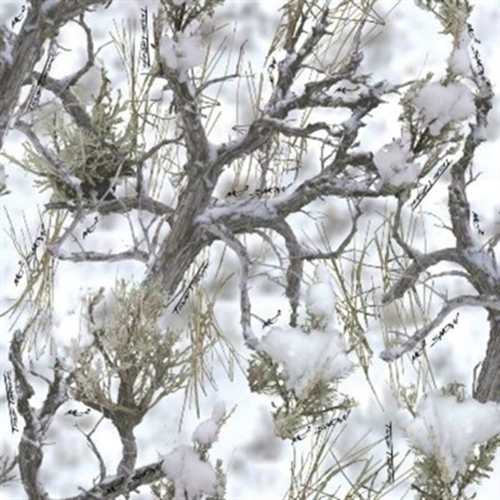 True Timber MC2 Camouflage Tree Branches in Snow Cotton Fabric