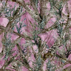 True Timber MC2 Camouflage Tree Branches on Pink Cotton Fabric