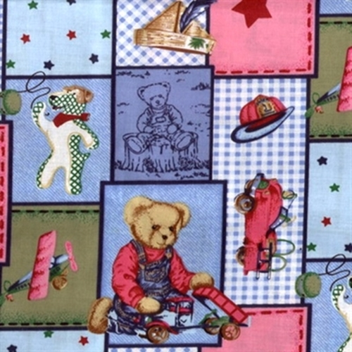 Blue Jean Teddy and Toys Patchwork Cotton Fabric