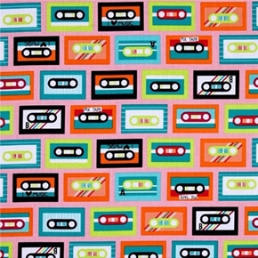 Beatbox Retro Music Cassette Tapes on Pink Cotton Fabric