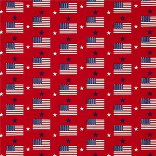 Made in the U.S.A. Patriotic Flags and Stars on Red Cotton Fabric