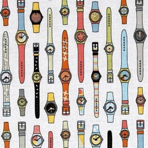Geekly Chic Retro Wrist Watches on White Cotton Fabric