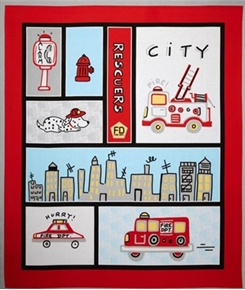 Picture of Rescuers Fire Department City Fire Fighters Large Cotton Fabric Panel