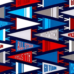 Sports Life 2 Pennants Go Team All Star Champion Cotton Fabric
