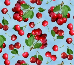 Picture of Berry Good Red Cherries on Blue Cotton Fabric