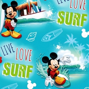 Disney Mickey Live Love Surf Surfing Mickey Mouse Cotton Fabric