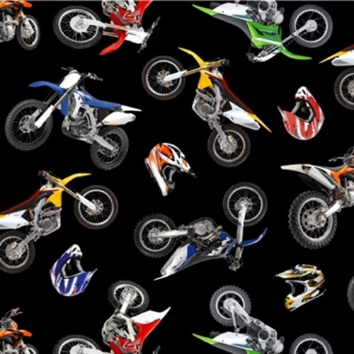 In Motion Motorcycles Stunt Bikes Dirt Bikes Racing Cotton Fabric