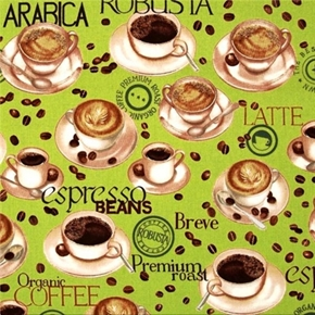 Metro Café Coffee Varieties, Beans and Cups Cotton Fabric