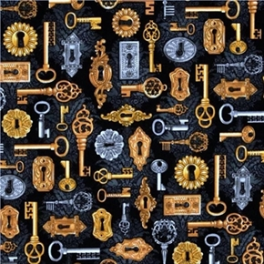 Time Machine Vintage Keys and Keyholes on Black Cotton Fabric