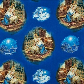 Oholy Night Nativity Mary Joseph Jesus Gold Blue 24X22 Cotton Fabric