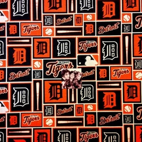 MLB Baseball Detroit Tigers Logo Navy Squares 18x29 Cotton Fabric