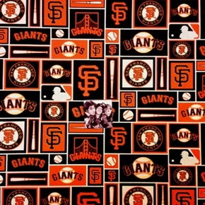 MLB Baseball San Francisco Giants Black Squares 18x29 Cotton Fabric