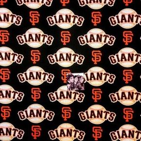 MLB Baseball San Francisco Giants Logos Black 18x29 Cotton Fabric