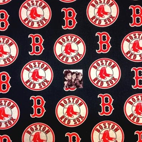 MLB Baseball Boston Red Sox Logos Navy Blue 18x29 Cotton Fabric
