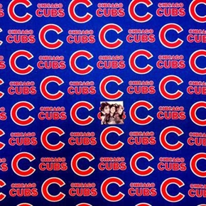 MLB Baseball Chicago Cubs Logos Blue 18x29 Cotton Fabric