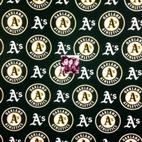 Picture of MLB Baseball Oakland Athletics A's Logos Green 18x29 Cotton Fabric