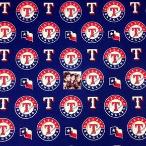 MLB Baseball Texas Rangers Logos Blue 18x29 Cotton Fabric