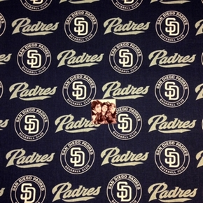 Picture of MLB Baseball San Diego Padres Logo Navy Blue 18x29 Cotton Fabric