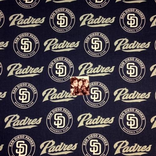 Mlb Baseball San Diego Padres Logo Navy Blue 18X29 Cotton Fabric