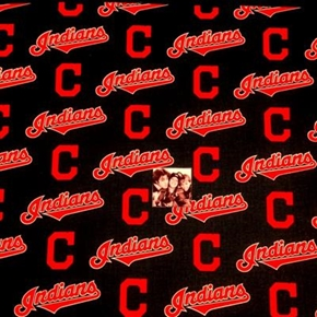 MLB Baseball Cleveland Indians Logos Navy Blue 18x29 Cotton Fabric
