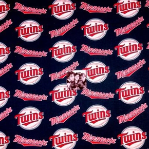 MLB Baseball Minnesota Twins Logos Navy Blue 18x29 Cotton Fabric