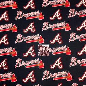 MLB Baseball Atlanta Braves Logos Navy Blue 18x29 Cotton Fabric