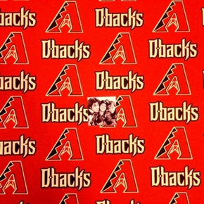 MLB Baseball Arizona Diamondbacks Logos Red 18x29 Cotton Fabric