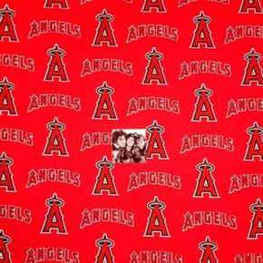 MLB Baseball Los Angeles Angels Logos Red 18x29 Cotton Fabric
