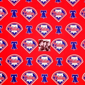 MLB Baseball Philadelphia Phillies Logos Red 18x29 Cotton Fabric