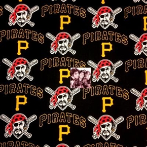 MLB Baseball Pittsburgh Pirates Logos Black 18x29 Cotton Fabric