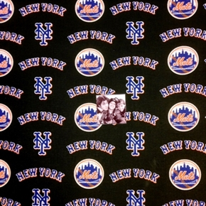 Picture of MLB Baseball New York Mets Logos Black 18x29 Cotton Fabric