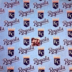 MLB Baseball Kansas City Royals Logos Sky Blue 18x29 Cotton Fabric