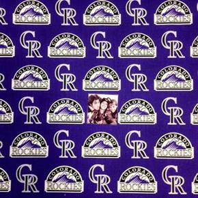 MLB Baseball Colorado Rockies Logos Purple 18x29 Cotton Fabric