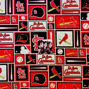 Picture of MLB Baseball Saint Louis Cardinals Logo Squares 18x29 Cotton Fabric