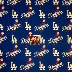 MLB Baseball Los Angeles Dodgers Logos Blue 18x29 Cotton Fabric