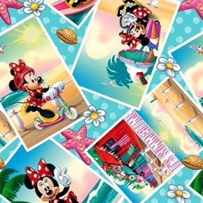 Disney Minnie Mouse Summer Snapshots Beach Photos Cotton Fabric
