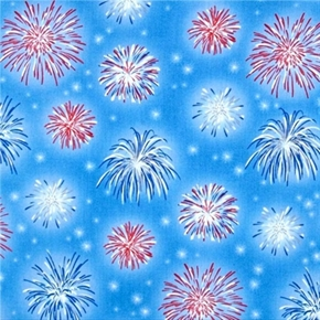 A Nations Song Patriotic Fireworks on Light Blue Cotton Fabric