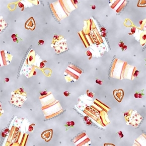 Afternoon Delight Dessert Toss Cakes and Cookies Gray Cotton Fabric