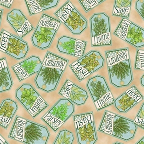 Herb Garden Herb Labels Basil, Thyme, Parsley, Sage Cotton Fabric