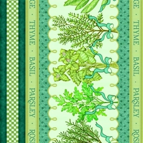 Herb Garden Decorative Stripe Herbs in Teal and Cream Cotton Fabric