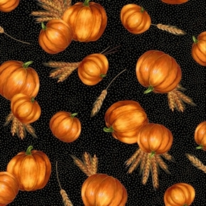 Autumn Glow Pumpkins and Wheat Gold Metallic on Black Cotton Fabric