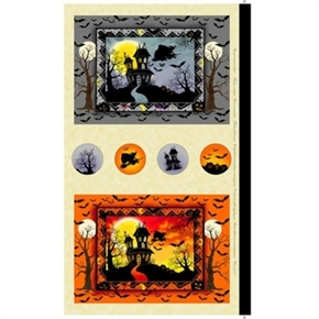 Witches Brew Ha-ha Haunted House Halloween 24x44 Cotton Fabric Panel