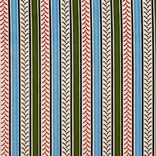 Big Red Int Harvester Tire Tread Blue and Green Stripe Cotton Fabric